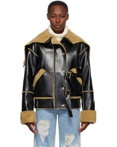 Кожаная черная длинная куртка с карманами с длинными рукавами Sjyp