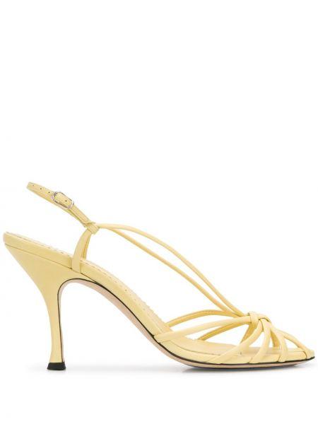 Żółte sandały skorzane eleganckie Victoria Beckham