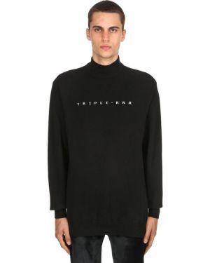 Czarny sweter wełniany z haftem Triple Rrr