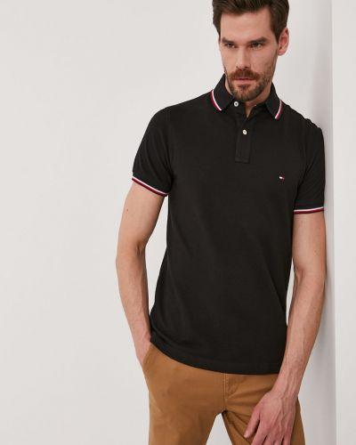 Czarny t-shirt bawełniany zapinane na guziki Tommy Hilfiger