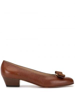 Коричневые туфли-лодочки с пряжкой винтажные без застежки Salvatore Ferragamo Pre-owned