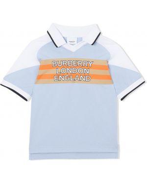 Асимметричная синяя классическая рубашка Burberry Kids
