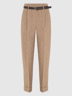 Бежевые льняные укороченные брюки Peserico