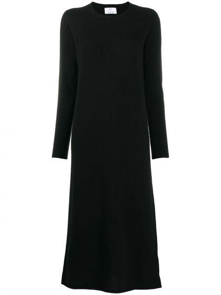 Черное тонкое платье в рубчик с вырезом Allude