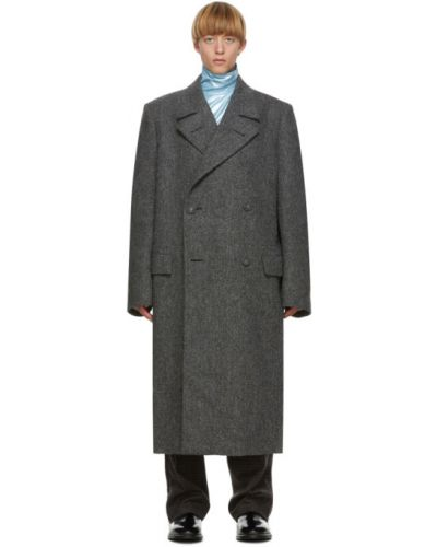 Wełniany długi płaszcz z kołnierzem z kieszeniami z klapami Raf Simons