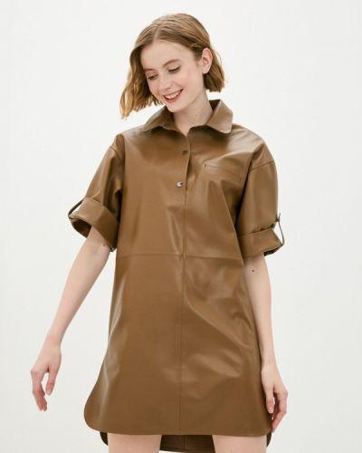Коричневое кожаное платье Grafinia