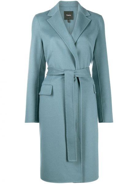 Синее шерстяное пальто с поясом с запахом Theory