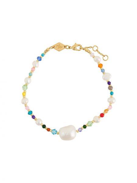 Золотистый желтый золотой браслет с камнями Anni Lu