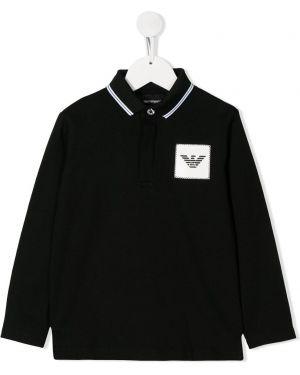 Рубашка черная с заплатками Emporio Armani Kids