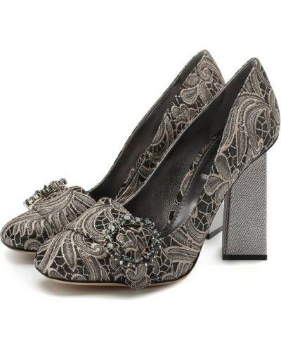 Кожаные туфли серебряного цвета Dolce & Gabbana