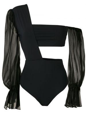 Черный купальник с подкладкой на одно плечо с декоративной отделкой Amir Slama