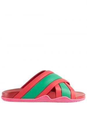 Różowe sandały płaska podeszwa peep toe Gucci