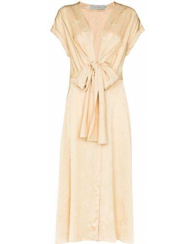 С кулиской платье миди с V-образным вырезом из вискозы с завязками Silvia Tcherassi