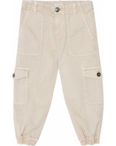 Beżowy bawełna bawełna spodnie rozciągać Brunello Cucinelli Kids