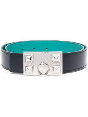 Синий кожаный ремень с заклепками Hermès
