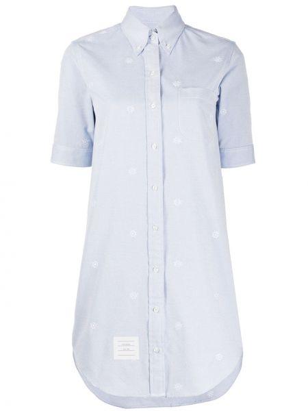 Niebieska sukienka mini krótki rękaw z wiskozy Thom Browne