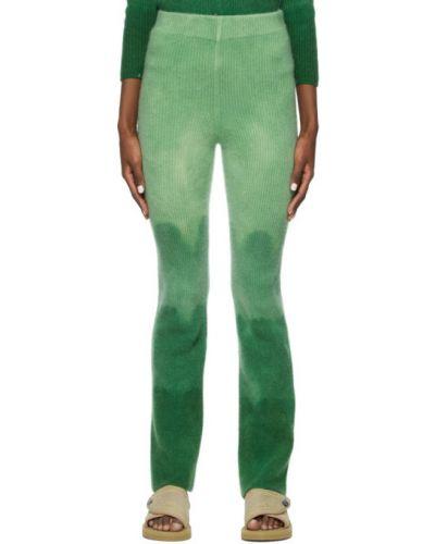 Кашемировые расклешенные зеленые брюки The Elder Statesman