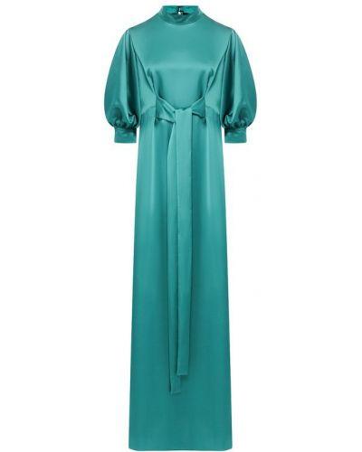 Платье макси однотонное - зеленое Poustovit