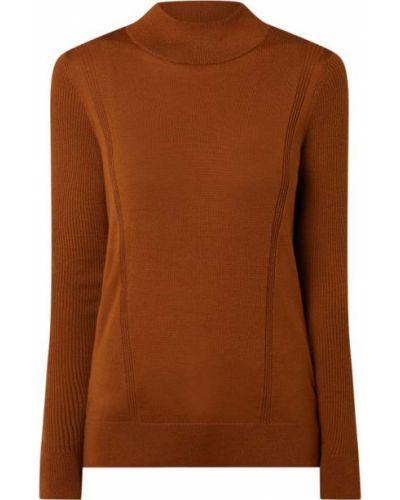 Wełniany brązowy sweter z kołnierzem Hugo