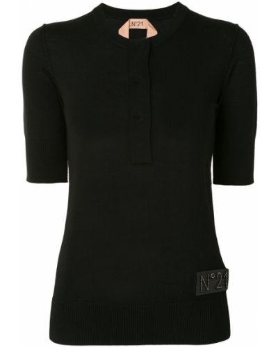 Черная футболка с вырезом с нашивками N°21