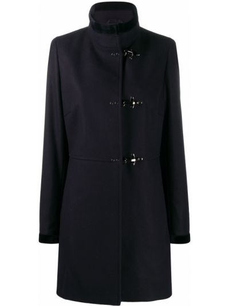 Однобортное синее шерстяное пальто с воротником Fay