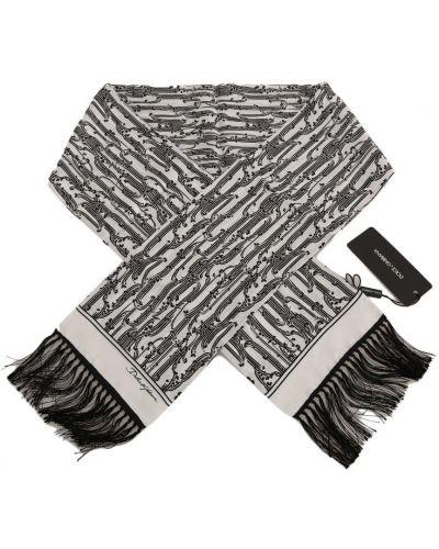 Czarny szalik kopertowy z printem Dolce And Gabbana