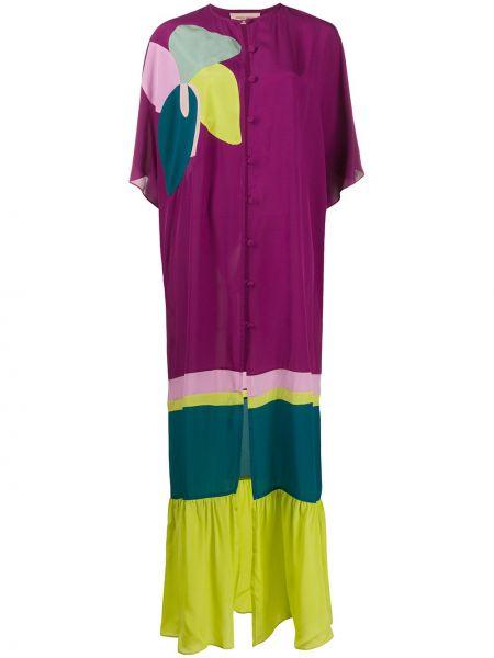 Платье макси на пуговицах с цветочным принтом Adriana Degreas
