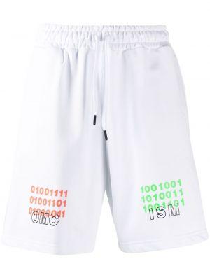 Białe szorty bawełniane z printem Omc