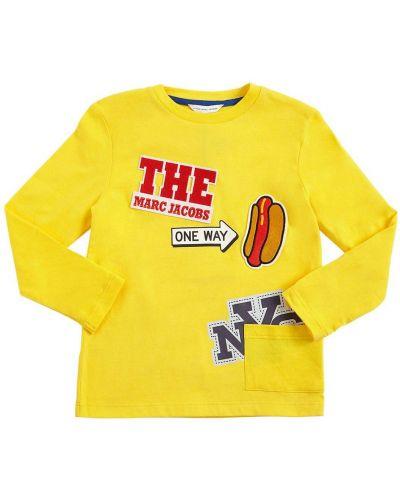 Bawełna z rękawami bawełna koszula z łatami Little Marc Jacobs