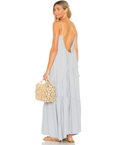 С ремешком синее платье макси винтажное Line & Dot