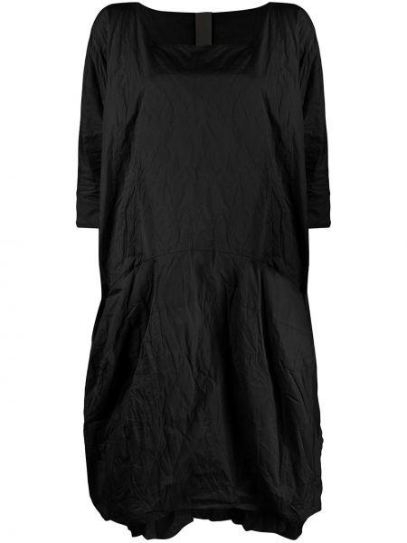 Черное платье миди из фатина оверсайз с вырезом Rundholz