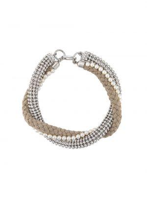 Beżowy naszyjnik perły srebrny Miu Miu