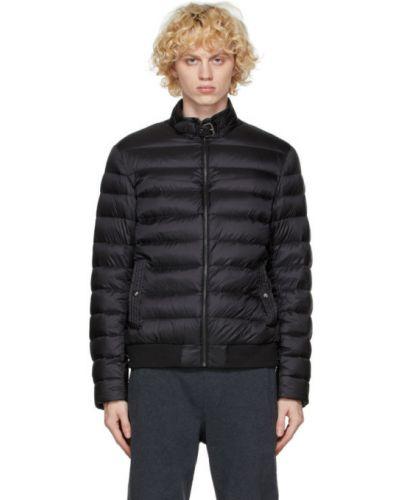 Puchaty czarny pikowana kurtka z mankietami z kieszeniami Belstaff
