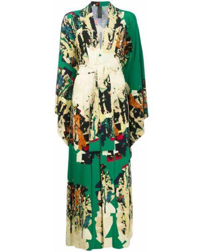 Платье с V-образным вырезом с абстрактным принтом Norma Kamali