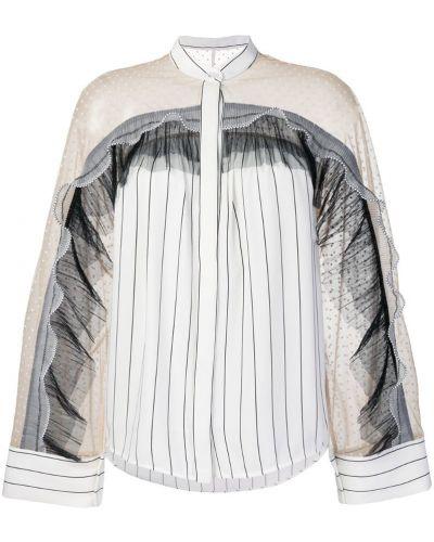 Белая блузка в полоску из вискозы Self-portrait