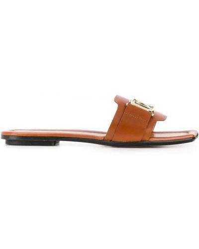 Brązowe sandały płaskie Lanvin