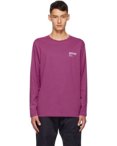 Хлопковая фиолетовая рубашка с воротником с длинными рукавами Affix