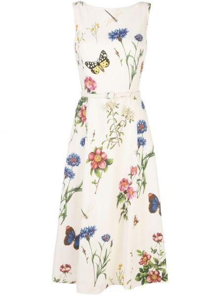 Платье миди с открытой спиной с цветочным принтом Oscar De La Renta