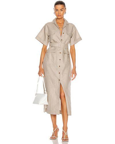 Льняное бежевое платье миди с поясом Matthew Bruch