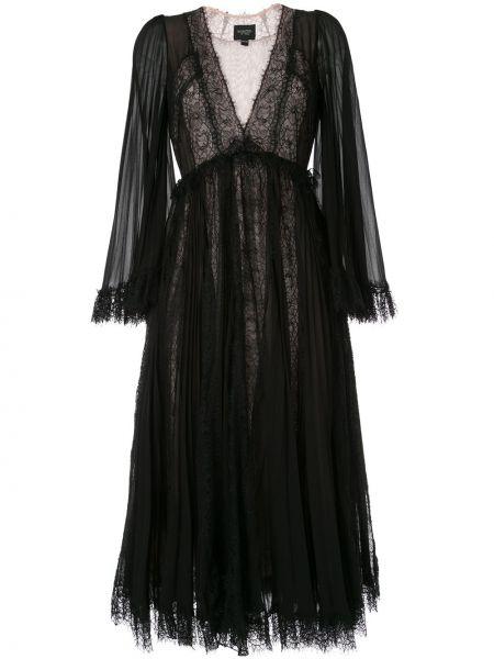 Шелковое черное платье миди с длинными рукавами Giambattista Valli