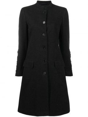Шерстяное черное длинное пальто с воротником Helmut Lang Pre-owned