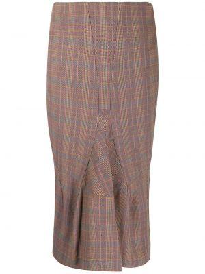 Шелковая приталенная юбка миди на молнии в рубчик Junya Watanabe Comme Des Garçons Pre-owned