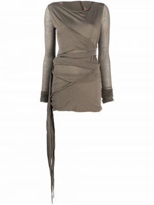 Платье макси с длинными рукавами - зеленое Rick Owens Lilies