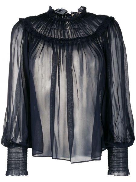 Bluzka z długim rękawem jedwabna z falbankami Ulla Johnson