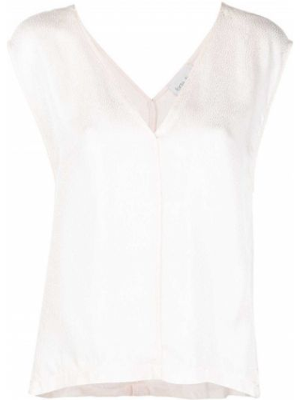Beżowa bluzka bez rękawów z wiskozy Forte Forte