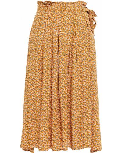 Коричневая плиссированная юбка миди с карманами SamsØe Φ SamsØe