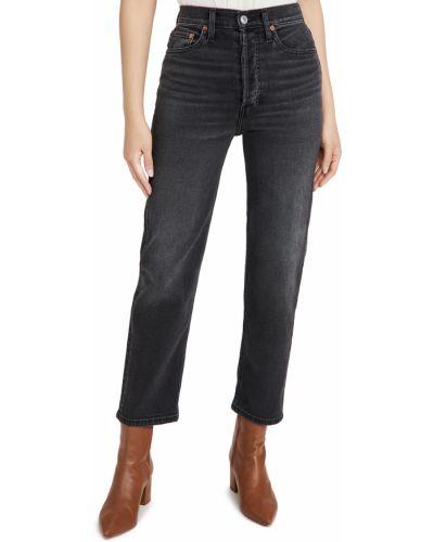 Czarne jeansy z wysokim stanem bawełniane Re/done