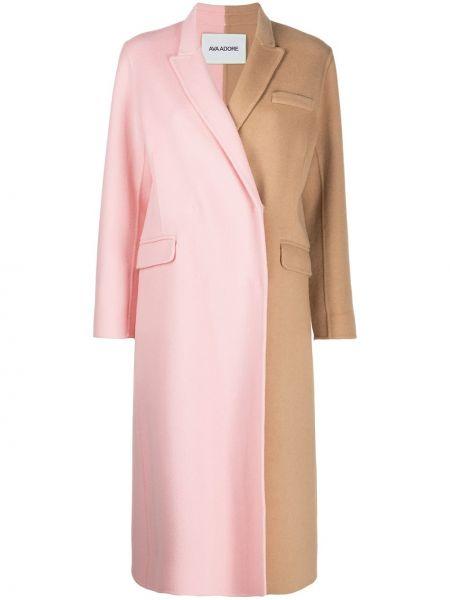 Шерстяное длинное пальто двубортное с карманами Ava Adore