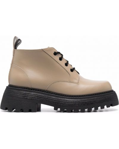 Бежевые кожаные ботинки Grey Mer