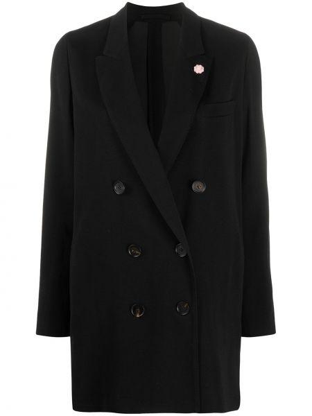 Черный прямой пиджак с карманами на пуговицах Lardini